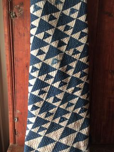 Old antique indigo blue calico fabric handmade quilt cutter textile AAFA #2
