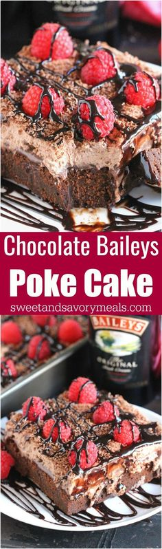 Chocolate Baileys Poke Cake has Baileys in the batter and in the chocolate sauce, topped with Baileys Chocolate Whipped Cream! #baileys #chocolate #pokecake