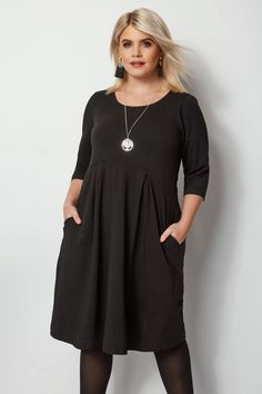 Shop Black Skater Dress at Yours Clothing. Discover plus size fashion in size Plus Size Skater Dress, Plus Size Black Dresses, Plus Size Cocktail Dresses, Plus Size Party Dresses, Plus Size Outfits, Plus Size Tunic Dress, Size 16 Fashion, Plus Size Fashion Tips, Work Fashion
