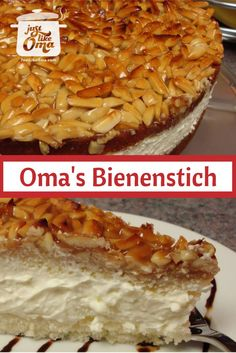 "Bienenstich Cake: Mike's birthday cake, a German ""Bee Sting"" cake. http://www.quick-german-recipes.com/bienenstich-recipe.html"