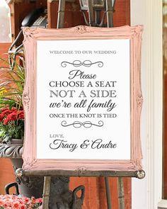 Choose a seat not a side, Wedding Sign, Shabby chic wedding decor, DIGITAL FILE