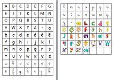 Hello Voici pour vos activités une double page à télécharger et imprimer de lettres Bâtons, scriptes , cursives et Alphas.  - Aplhabets a imprimer.pdf