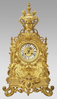 Clocks – Decor : Louis XVI style French gilt bronze mantle clock : Lot 280 -Read More – Tabletop Clocks, Mantel Clocks, Old Clocks, Clock Decor, Antique Clocks, Vintage Clocks, Desk Clock, Louis Xvi, French Clock