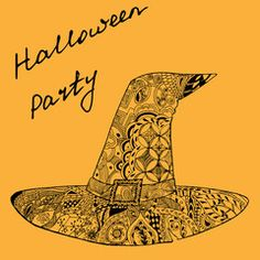 witch hat, Halloween vector illustration, zentangle pattern hand drawn lettering