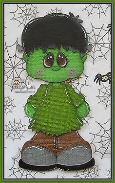 TOCG FRANKENSTEIN, premade paper piecing, Halloween, Scrapbook page, album, bord