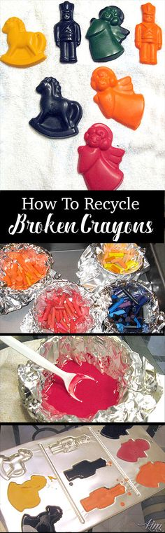 How to take old broken crayons and make new crayons with fun shapes. So easy!  A great way to clean up those bins of busted crayons.