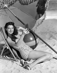 Ava Gardner looking gorgeous at (studio) beach, c.1944.