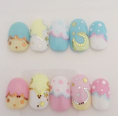 Nail Art, Sanrio, Little Twin Stars, Crescent Moons, Clouds, Stars, Polka Dots, Kawaii, Cute, Baby Blue, Yellow, White, Pink, Gold, Hand Placed Glitter