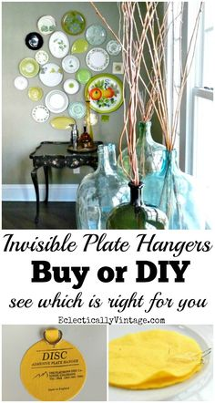 Invisible Plate Hangers for Walls - see what to buy or how to DIY your own to create your own plate wall eclecticallyvintage.com