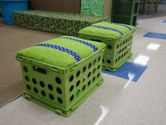 Seats for reading area-I cut a piece of wood to fit the inside lip of the crate. I used some padding from the walmart craft section for cushioning and stapled fabric over the seat. I then stapled the ribbon over so the kids have a handle.