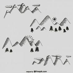 Montañas dibujadas a mano