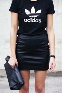 Adidas t-shirt + leather skirt