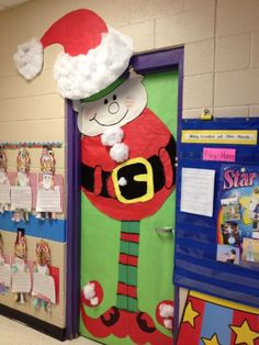 Christmas Door Decorations for School | Santa Elf door from Annette Bierley via Pinterest