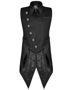 Stunning Neo-Victorian style gentlemens Steampunk waistcoat vest from the Gainsborough collection by Punk Rave. Cut from black poly blend fabric with subtle woven stripes in a unique design with ornate custom copper Chinese dragon snap fastenings to one side, pointed collar and decorative buttons. | eBay!