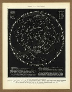 Vintage map Constellations Stars Astronomy from 1936 Antique chart 1930s placesintimemaps