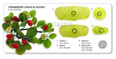 JEM Strawberry Leaves & Calyxes cutters (set of 4) #103FF030 gum paste cake  #JEM