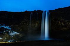 Seljalandsfoss at Night - Seljalandsfoss waterfall at Night lit with spotlights