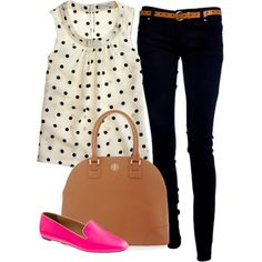 Polka Dot by classically-preppy on Polyvore featuring J.Crew and Tory Burch