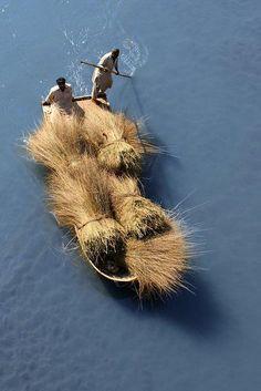 anicient transportation of hay from river to village - River Jhelum, Jhelum, Punjab, Pakistan | Amer Raja