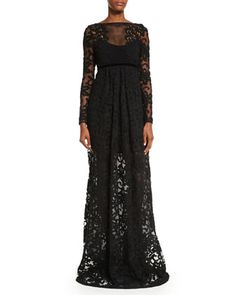 Long-Sleeve Macrame Gown, Black by Burberry Prorsum at Neiman Marcus.