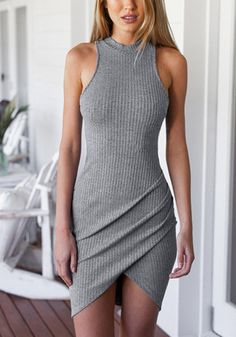 Look stunning even in neutrals by wearing this grey ribbed bodycon dress. It's designed with a mock neckline and a tulip-style skirt and is also stretchable. | Lookbook Store