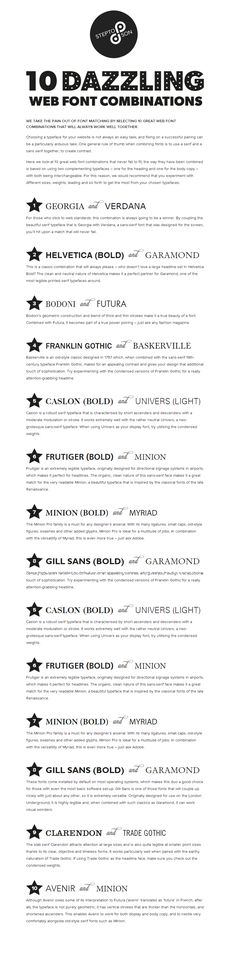 10 great web font combinations....my fave is the number 1 combo ...I've always used them for my eBay listings.