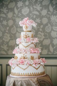 Indian Weddings Inspirations. Gold Wedding Cake. Repinned by #indianweddingsmag indianweddingsmag.com #vintage