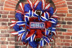 Ole Miss Rebel Wreath Ole Miss Door Wreath by SouthernCharmFlorals