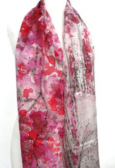 Birch Trees Scarf. Forest Silk Scarf. Hand Painted by TeresaMare