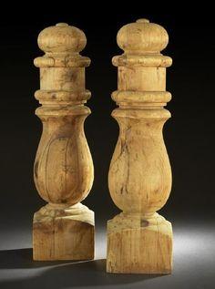 Pair Of Turned Wood Vasiform Newel Post Finials