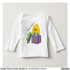Bright Yellow Duck, Purple Gift Box, Happy Easter Tshirts