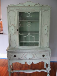 Vintage China Cabinet in fabulous pale green. This is my idea of a beautiful vintage cabinet. Redo Furniture, House Styles, Shabby Furniture, Painted Furniture, Home, Cabinet, Vintage Furniture, Furniture, Vintage China Cabinets