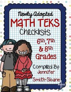 FREEBIE: Math TEKS Checklists for 6th, 7th and 8th Grade