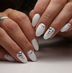 Long White Nails with Gemstone White Nails Gemstone Nails Almond Nails Nails - Care - Skin care , beauty ideas and skin care tips White Nail Designs, Best Nail Art Designs, Nail Designs Spring, Long White Nails, White Nail Art, White Almond Nails, Bridal Nails, Wedding Nails, Nail Art Strass