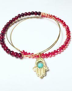 Beautiful set of 2, expandable bracelets with Hamsa Hand Charm.