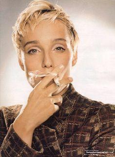 Kristin Scott-Thomas smoking.