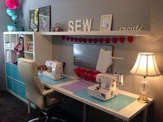 Sewing room, Ikea furniture, white, aqua and hot pink theme