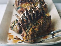 Rack of Lamb with Swiss Chard... Easter dinner OM NOM NOM ALL THE LAMBS IN MY BELLY PLEASE