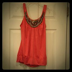 Burnt orange Tribal beaded blouse Sleeveless metallic crinkle blouse with copper and brown beads in tribal pattern HeartSoul Tops Blouses