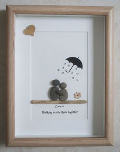 Pebble Art framed Picture Love is walking in the Rain by Jewlls4u
