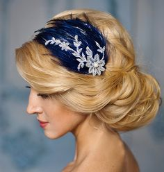 Blue Wedding fascinator navy blue and by FancyBOWtiqueBridal