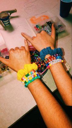 Bracelet Making :) Pony Bead Bracelets, Kandi Bracelets, Summer Bracelets, Cute Bracelets, Pony Beads, Friendship Bracelets, Summer Jewelry, Ankle Bracelets, Scrunchies