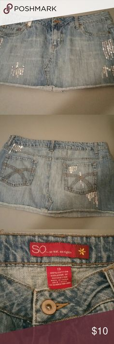 So rhinestone and sequin denim jean mini skirt So brand from kohls. Great light blue denim material. Has both silver sequin and rhinestone accents through out. Size 13. Great gently worn condition. SO Skirts Mini