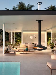 ❤️ 89 outdoor fireplace design options for the comfort of your outdoor living room of 54 Modern Outdoor Fireplace, Outdoor Fireplace Designs, Modern Outdoor Living, Outdoor Fireplaces, Modern Pool House, Modern Pools, Outside Fireplace, Cabin Fireplace, Fake Fireplace