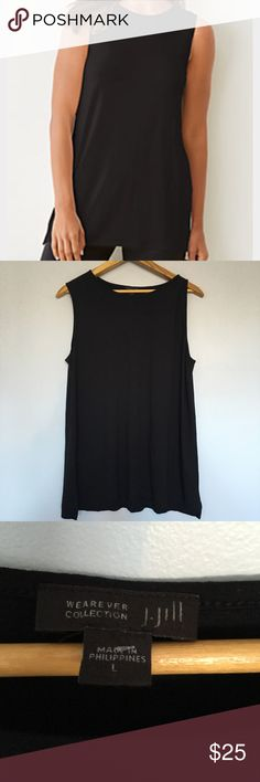 J.Jill Wearever Collection Long Tank Top Black L J.Jill Wearever tank in black. This is a beautiful top in mint condition. Perfect for any event. Super comfy. J.Jill Tops Tank Tops