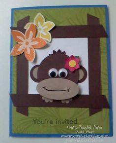 handmade card ... adorable punch art monkey ... like the framing ... Stampin' Up!
