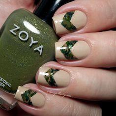 Camouflage chevron nail art - Veterans Day military manicure | Sassy Shelly