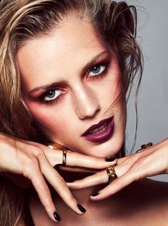 Esther Heesch shows off rouged cheeks and dark red lipstick for ELLE Magazine Sweden December 2016 issue