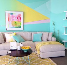 Gorgeous graphic pastel feature wall - Freedom Australia