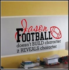 For Jareds bedroom Personalized Football Decal Children and Teens Christian Wall Decals Football Room Decor, Football Rooms, Boys Room Decor, Boy Room, Kids Room, Football Stuff, Wall Quotes, Words Quotes, Sayings